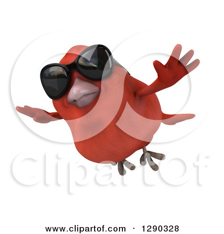Clipart of a 3d Red Bird Wearing Shades and Flying - Royalty Free Illustration by Julos