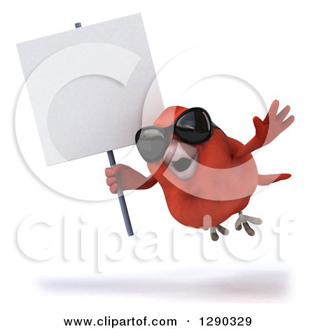 Clipart of a 3d Red Bird Wearing Shades and Flying with a Blank Sign - Royalty Free Illustration by Julos