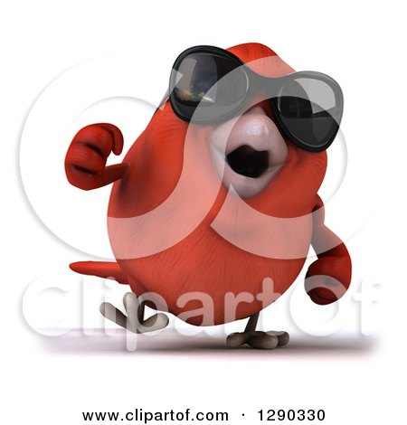 Clipart of a 3d Red Bird Wearing Shades and Walking - Royalty Free Illustration by Julos