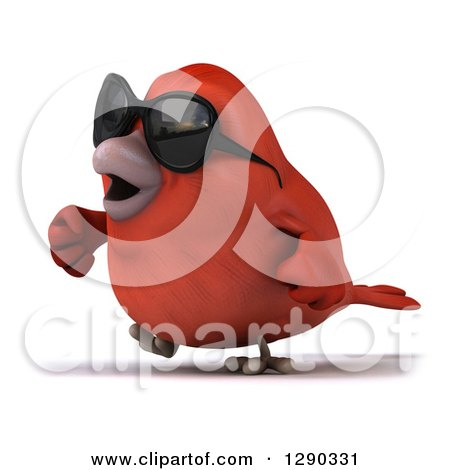 Clipart of a 3d Red Bird Wearing Shades and Walking to the Left - Royalty Free Illustration by Julos