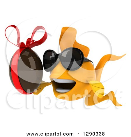 Clipart of a 3d Happy Yellow Fish Wearing Sunglasses, Facing Left and Holding a Chocolate Easter Egg - Royalty Free Illustration by Julos