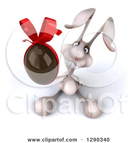 Clipart of a 3d White Bunny Rabbit Holding up a Chocolate Easter Egg - Royalty Free Illustration by Julos