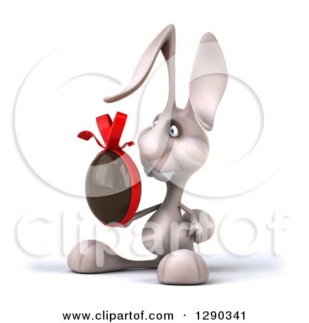 Clipart of a 3d White Bunny Rabbit Facing Left and Holding a Chocolate Easter Egg - Royalty Free Illustration by Julos