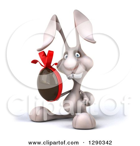 Clipart of a 3d White Bunny Rabbit Facing to the Left and Holding a Chocolate Easter Egg - Royalty Free Illustration by Julos