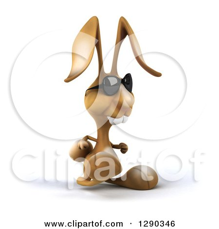 Clipart of a 3d Brown Bunny Rabbit Wearing Sunglasses and Walking to the Right - Royalty Free Illustration by Julos