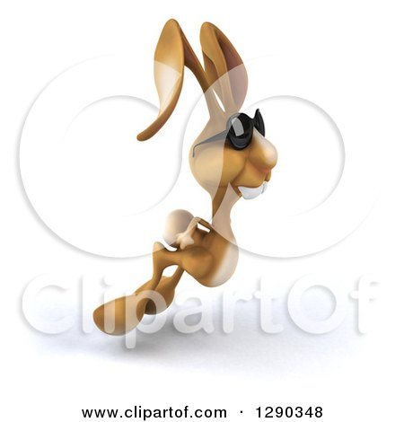Clipart of a 3d Brown Bunny Rabbit Wearing Sunglasses and Hopping to the Right 2 - Royalty Free Illustration by Julos