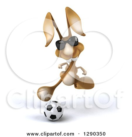 Clipart of a 3d Brown Bunny Rabbit Wearing Sunglasses and Playing Soccer - Royalty Free Illustration by Julos