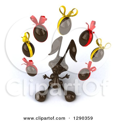 Clipart of a 3d Dark Chocolate Easter Bunny Looking up and Juggling Eggs - Royalty Free Illustration by Julos