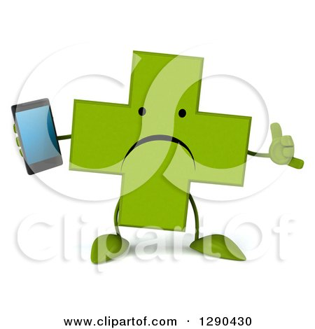 Clipart of a 3d Unhappy Green Holistic Cross Character Holding a Smart Cell Phone and Gesturing Call Me - Royalty Free Illustration by Julos