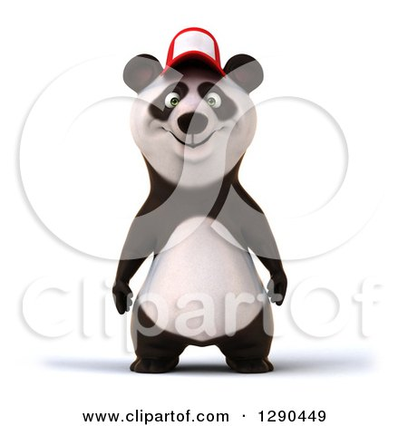 Clipart of a 3d Panda Wearing a Baseball Cap - Royalty Free Illustration by Julos