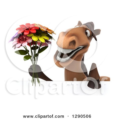 Clipart of a 3d Happy Brown Horse Holding a Bouquet of Flowers over a Sign - Royalty Free Illustration by Julos