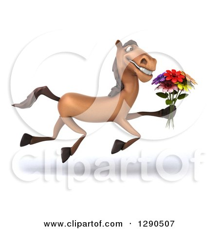 Clipart of a 3d Happy Brown Horse Running to the Right and Holding a Bouquet of Flowers - Royalty Free Illustration by Julos