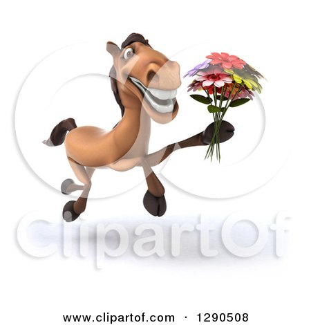 Clipart of a 3d Happy Brown Horse Running Slightly to the Right and Holding a Bouquet of Flowers - Royalty Free Illustration by Julos
