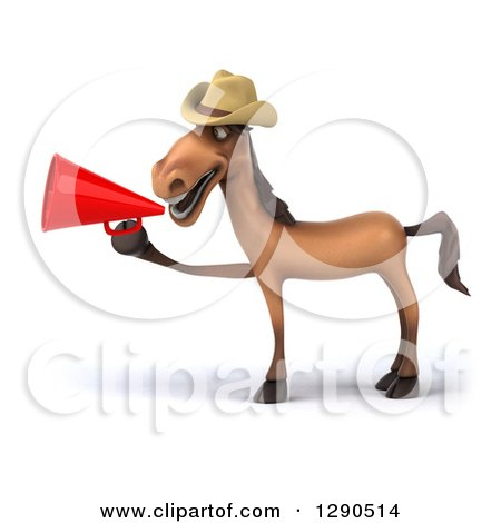 Clipart of a 3d Happy Brown Cowboy Horse Facing Left and Using a Megaphone - Royalty Free Illustration by Julos