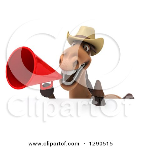 Clipart of a 3d Happy Brown Cowboy Horse Using a Megaphone over a Sign - Royalty Free Illustration by Julos
