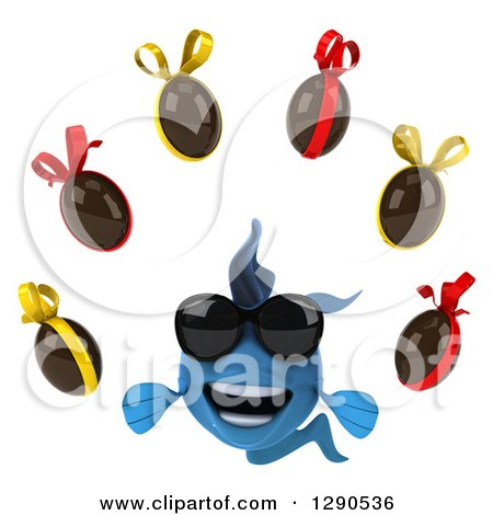 Clipart of a 3d Happy Blue Fish Wearing Sunglasses and Juggling Chocolate Easter Eggs - Royalty Free Illustration by Julos