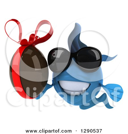Clipart of a 3d Happy Blue Fish Wearing Sunglasses and Holding a Chocolate Easter Egg - Royalty Free Illustration by Julos