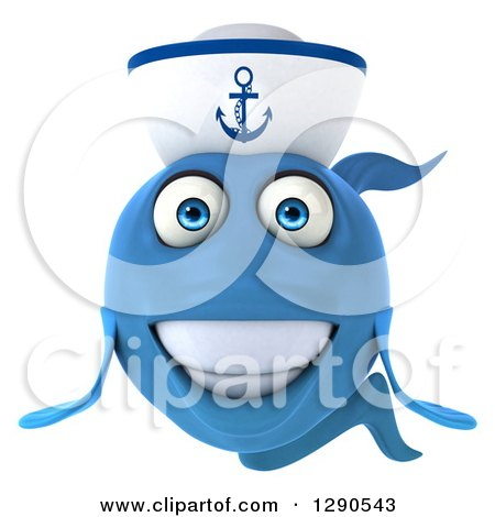 Clipart of a 3d Smiling Happy Blue Sailor Fish - Royalty Free Illustration by Julos
