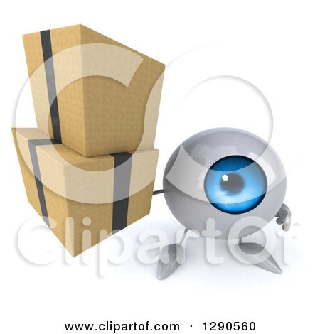 Clipart of a 3d Blue Eyeball Character Holding up Boxes - Royalty Free Illustration by Julos