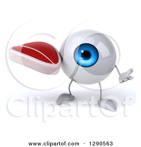 Clipart of a 3d Blue Eyeball Character Shrugging and Holding a Beef Steak - Royalty Free Illustration by Julos