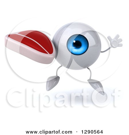 Clipart of a 3d Blue Eyeball Character Jumping and Holding a Beef Steak - Royalty Free Illustration by Julos