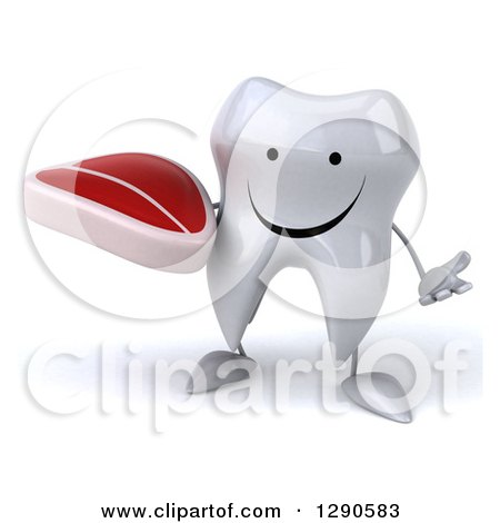 Clipart of a 3d Happy Tooth Character Shrugging and Holding a Beef Steak - Royalty Free Illustration by Julos