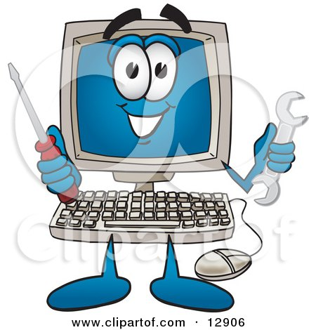 Desktop Computer Mascot Cartoon Character Holding a Wrench and Screwdriver Posters, Art Prints