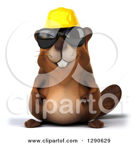 Clipart of a 3d Construction Beaver Wearing Sunglasses - Royalty Free Illustration by Julos