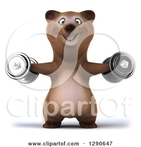 Clipart of a 3d Brown Bear Working out and Doing Lateral Raises with Dumbbells - Royalty Free Illustration by Julos