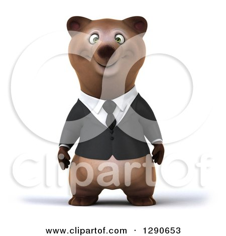 Clipart of a 3d Brown Business Bear - Royalty Free Illustration by Julos