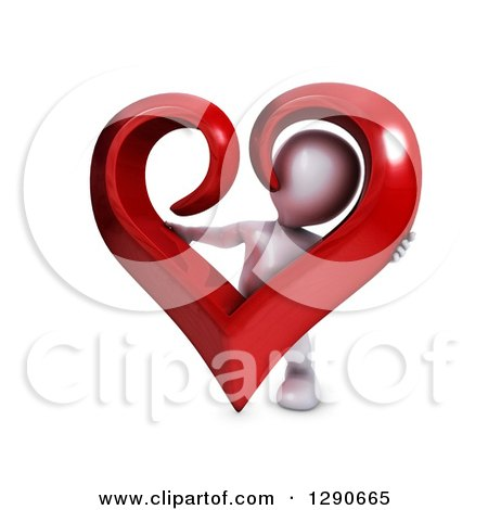 Clipart of a 3d White Man Holding a Giant Red Valentines Day Love Heart - Royalty Free Illustration by KJ Pargeter