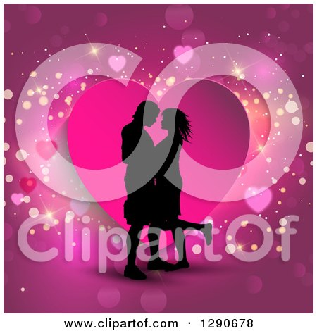 Clipart of a Black Silhouetted Couple Kissing over a Pink Heart and Sparkly Background - Royalty Free Vector Illustration by KJ Pargeter