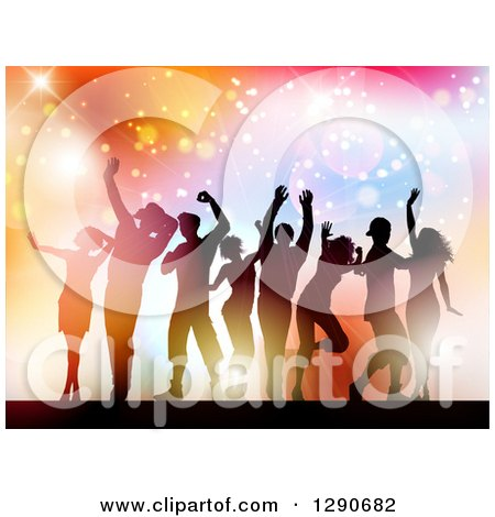 Clipart of a Group of Young Silhouetted Dancers Against Colorful Flares, Sparkles and Lights - Royalty Free Vector Illustration by KJ Pargeter