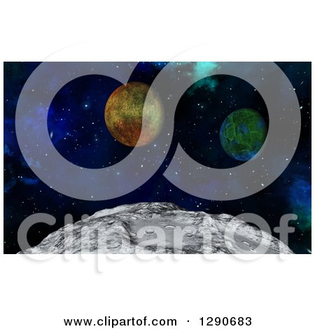 Clipart of a 3d Closeup of the Moon's Surface and Fictional Planets - Royalty Free Illustration by KJ Pargeter
