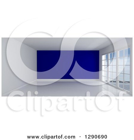 Clipart of a 3d Empty Room Interior with Floor to Ceiling Windows and a Navy Blue Feature Wall - Royalty Free Illustration by KJ Pargeter