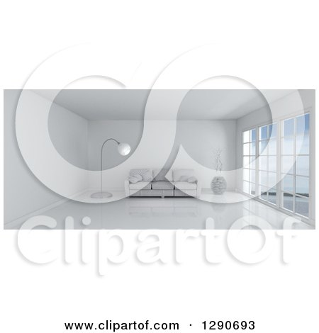 Clipart of a 3d White Room Interior with Floor to Ceiling Windows and Furniture - Royalty Free Illustration by KJ Pargeter