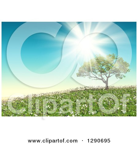 Clipart of a 3d Sun Shining over a Tree in a Landscape with Grass and Wild Daisies - Royalty Free Illustration by KJ Pargeter