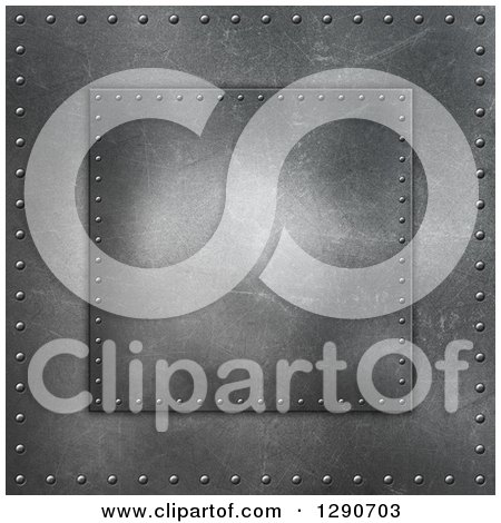 Clipart of a 3d Background of Scratched Metal or Concrete and Rivets - Royalty Free Illustration by KJ Pargeter