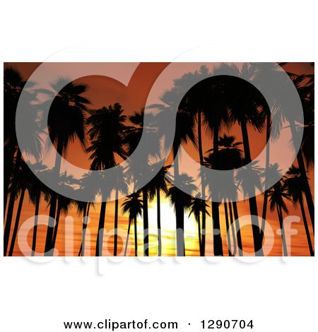 Clipart of 3d Silhouetted Tropical Palm Trees Against an Orange Ocean Sunset - Royalty Free Illustration by KJ Pargeter
