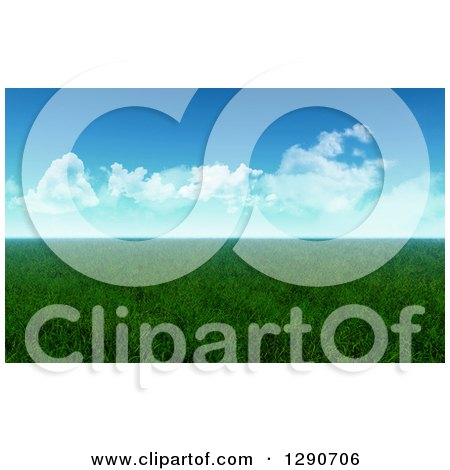 Clipart of a 3d Flat Grassy Meadow on a Sunny Day - Royalty Free Illustration by KJ Pargeter