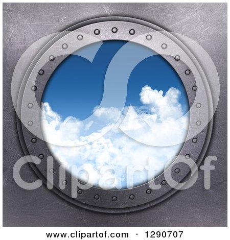 Clipart of a 3d Round Metal Port Hole Window with a View of the Blue Sky - Royalty Free Illustration by KJ Pargeter