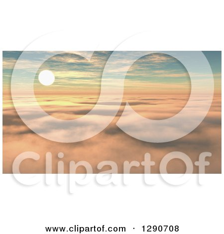 Clipart of a 3d Sunset Sky As Seen Above the Clouds - Royalty Free Illustration by KJ Pargeter