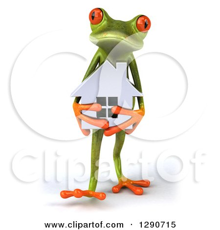 Clipart of a 3d Green Springer Frog Walking and Holding a Silver House - Royalty Free Illustration by Julos