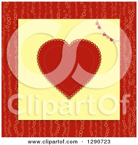 Clipart of a Red Doily Valentine Love Heart with a Patterned Bunting on Yellow Paper over a Pattern - Royalty Free Vector Illustration by elaineitalia
