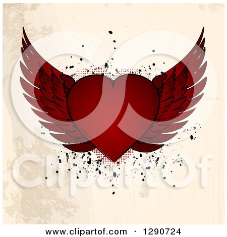 Clipart of a Red Winged Valentine Love Heart over Grungy Beige Background with Halftone and Grunge Splatters - Royalty Free Vector Illustration by elaineitalia