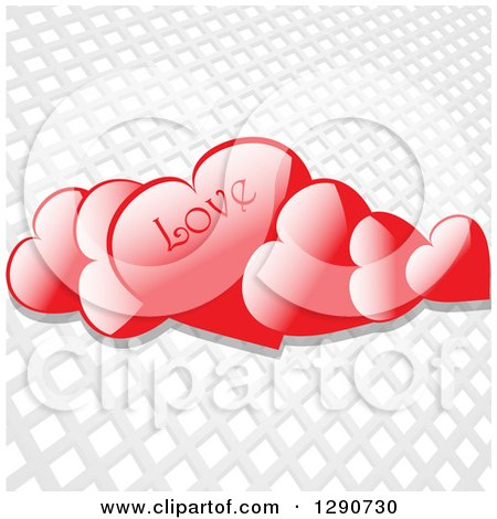 Clipart of 3d Floating Reflective Red Valentine Hearts with LOVE Text over a Gray and White Grid Background - Royalty Free Vector Illustration by elaineitalia