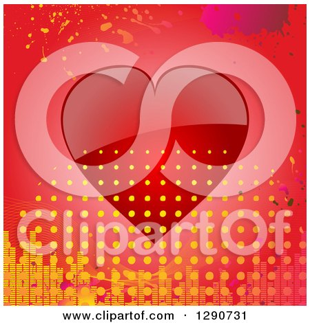 Clipart of a Reflective Red Valentine Love Heart with Grunge Splatters, Equalizer Bars and Halftone Dots - Royalty Free Vector Illustration by elaineitalia