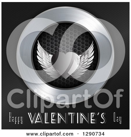 Clipart of a 3d Metal Silver Winged Heart over Perforated Metal in a Chrome Circle on Black with Happy Valenttines Day Text - Royalty Free Vector Illustration by elaineitalia