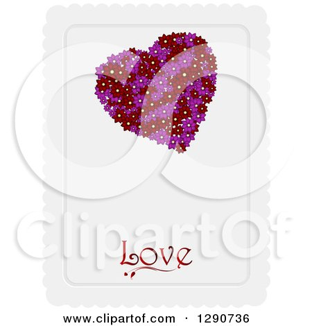 Clipart of a Valentines Day Background of a Purple and Red Floral Heart over Love Text on a Piece of Scalloped Paper - Royalty Free Vector Illustration by elaineitalia