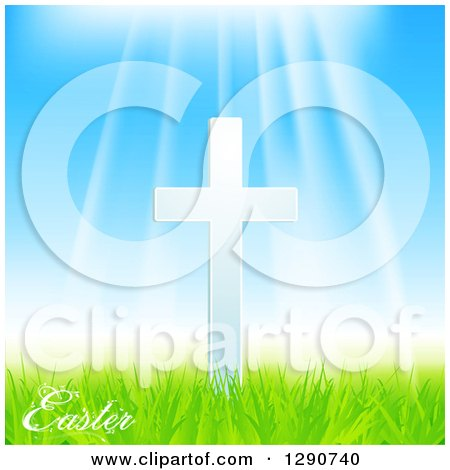 Clipart of Sun Rays Shining down on a White Cross, with Easter Text, Blue Sky and Green Grass - Royalty Free Vector Illustration by elaineitalia